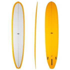 McTavish Fireball Evo Squaretail 2+1 FCS Longboard Surfboard - Orange Pinline