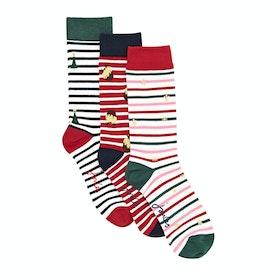 Joules Cracking Socks - Red Multi Stripe