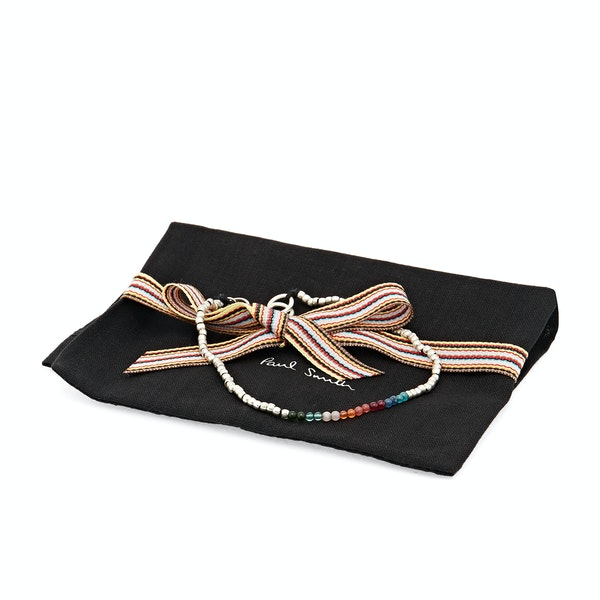 Paul Smith Silver Artist Stripe Beaded Bracelet