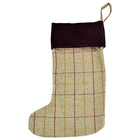 Country Attire Christmas Stocking Christmas Accessories - Wine & Charcoal Wolf Check