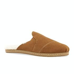 Toms Nova Leather Wrap Womens Slippers - Carmel Brown Suede Faux Fur