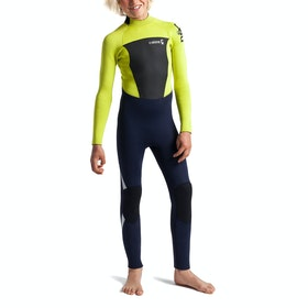 C-Skins Legend 5/4/3mm Back Zip Kids Wetsuit - Slate Flash Green Silver