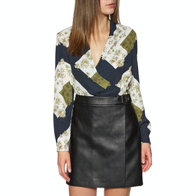 Maglietta Donna Ted Baker Pheadra Pearl Printed Wrap Blouse - Ivory