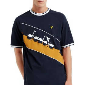 Lyle & Scott x Diadora Printed Colourblock Kurzarm-T-Shirt - Dark Navy
