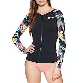 Roxy Fashion Zip Long Sleeve Womens Rash Vest - Anthracite Tropicoco