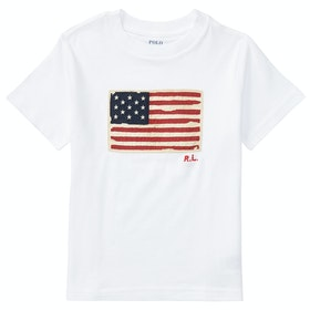 Polo Ralph Lauren Flag Junior Boy's Short Sleeve T-Shirt - White
