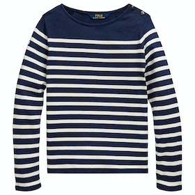 Polo Ralph Lauren Striped Knit Long Sleeve T-Shirt - French Navy Clubhouse Cream