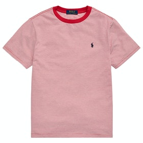Polo Ralph Lauren Stripe Junior Boy's Short Sleeve T-Shirt - Sunrise Red Multi