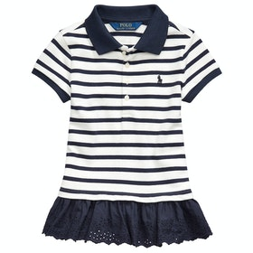 Polo Ralph Lauren Striped Knit Junior Girl's Polo Shirt - Hunter Navy/nevis