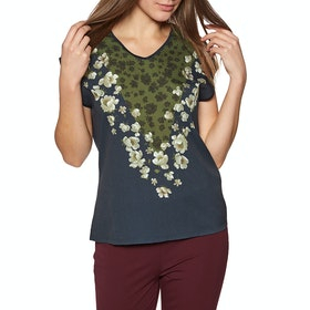 Ted Baker Onina Pearl Printed Woven Front Women's Short Sleeve T-Shirt - Dark Blue