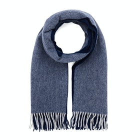 Country Attire Made In Scotland Wool and Angora Scarf - Navy / Grey Reversible