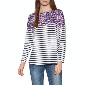 Joules Harbour Lt Print Ladies Long Sleeve T-Shirt - Cream Sweetpea