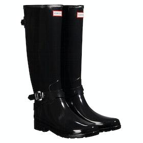 Stivali di Gomma Donna Hunter Refined Back Adjustable Tall W/ Ankle Strap Gloss - Black