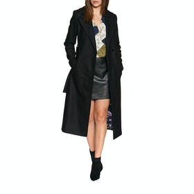 Ted Baker Wide Collar Long Wool Womens Bunda - Black