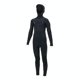 O'Neill Hyperfreak 5/4+ Chest Zip Hooded Kids Wetsuit - Black