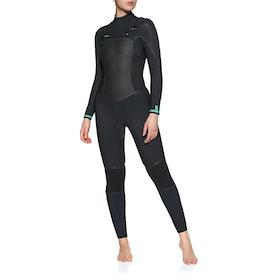 O'Neill Psycho Tech 5/4 + Chest Zip Full Womens Wetsuit - Black Black