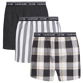 Calvin Klein 3 Pack Full Cotton Boxer Shorts - Level Stripe Black Field Plaid