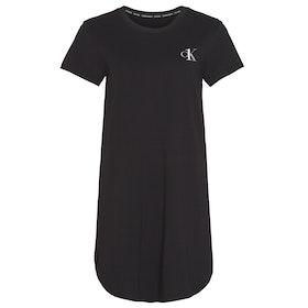 Calvin Klein Logo Short Sleeved Nightshirt Women's Nightwear - Black