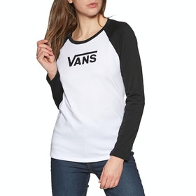 T-Shirt à Manche Longue Femme Vans Flying V Raglan - White Black