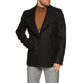 Paul Smith Wool and Cashmere Blend Pea Coat Jacket - Black