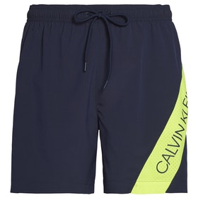 Calvin Klein Side Stripe Drawstring Swim Shorts - Black Iris