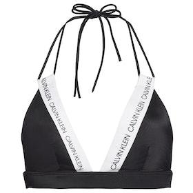 Calvin Klein Logo Strap Fixed Triangle Women's Bikini Top - Pvh Black