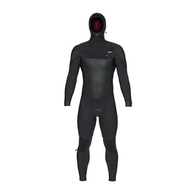 O'Neill Psycho Tech 6/4mm Chest Zip Hooded Wetsuit - Black Black