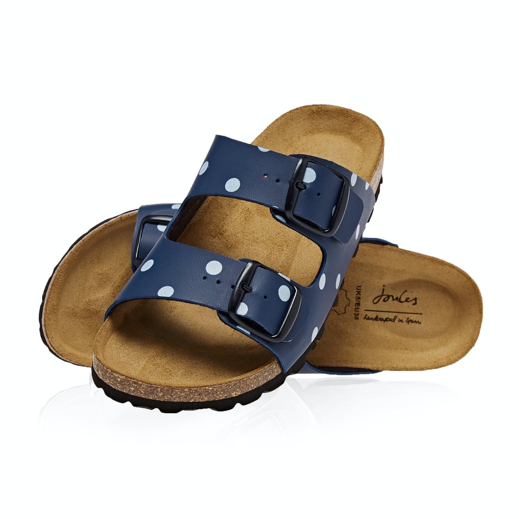 Joules Womens Penley Printed Slider Sandal in DARK BLUE SPOT