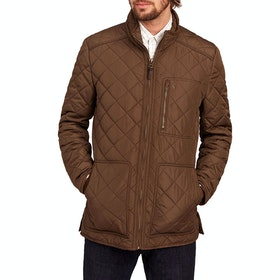 Joules Derwent Long Length Quilted Men's Jacket - Country Brown