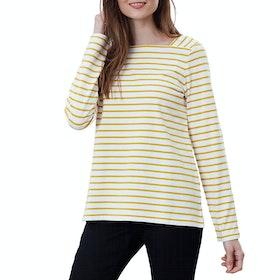 Joules Matilde Women's Long Sleeve T-Shirt - Creme Gold Stripe