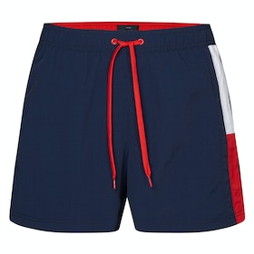Tommy Hilfiger Colour Block Medium Drawstring Swim Shorts - Pitch Blue