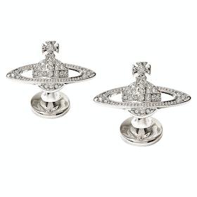 Cufflinks Vivienne Westwood Mini Bas Relief - Rhodium Crystal