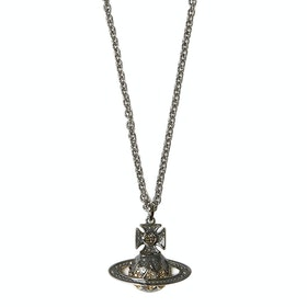 Vivienne Westwood Aretha Orb Pendant Necklace - Ruthenium Gold Black Diamond