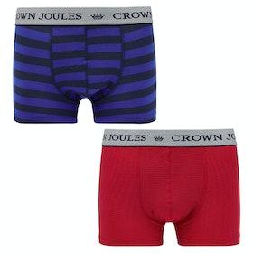 Joules Crown Joules 2pk Boxer Shorts - Stripe Duo