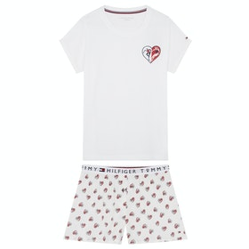 Tommy Hilfiger Ss Short Set Woven B Women's Pyjamas - Pvh Classic White