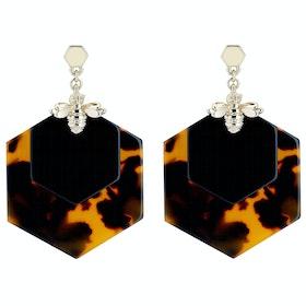 Ted Baker Honzza Bumblebee Honeycomb Damen Earrings - Light Gold/tortoiseshell/black