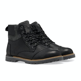 Toms Ashland Waterproof Brushed Wool Boots - Black Leather