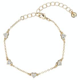 Ted Baker Neleaha: Nano Heart Charm Bracelet - Gold/crystal