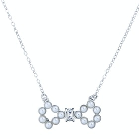 Ted Baker Pelsina Medium Pearl Bow Pendant Necklace - Silver/pearl/crystal