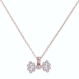 Ted Baker Brizla Small Crystal Bow Pendant Necklace - Rose Gold/crystal