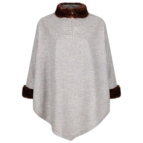 Country Attire Fox Women's Poncho - Beige