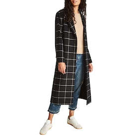 Jack Wills Blythe Long Checked Robe Women's Jacket - Black
