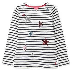 Joules Harbour Luxe Girl's Top - White Stripe Star