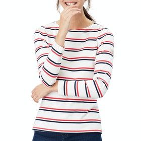 Joules Harbour Dames Top - Cream Red Blue Stripe