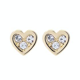 Ted Baker Neena: Nano Heart Stud Earrings - Gold/crystal