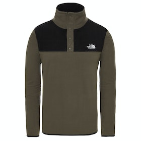 Polaire North Face Tka Glacier Snap Neck Pullover - New Taupe Green TNF Black