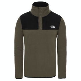 North Face Tka Glacier Snap Neck Pullover Fleece - New Taupe Green TNF Black