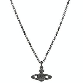 Vivienne Westwood Mini Bas Relief Pendant Necklace - Ruthenium Black Diamond