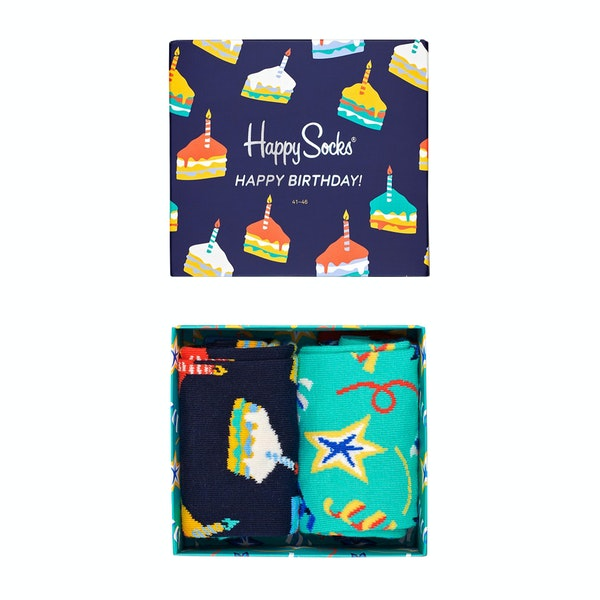 Happy Socks Birthday Cake Gift Box 2 Pack Socks