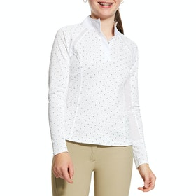 Ariat Sunstopper 2.0 Turnier-Shirt - White Plum Grey Dot